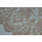 Vintage Pink Leavers Lace w/Cream Cording - Double Scallop