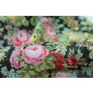 Floral Print Cotton - Pink, Yellow and Green on Black