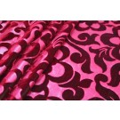 Embossed Viscose Velvet - Red Shot Green Floral