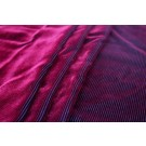 Embossed Viscose Velvet - Black Burgundy Corduroy Effect