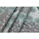 Crewel Work Embroidered Silk - Green Grey