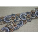 Zari Work Metallic Trim - Floral Gold, Copper & Grey Blue