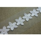 Flower Chain Embroidered Tulle Trim - Ivory - Large