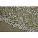 Guipure Lace - Swirl and Leaf Scallop - Pale Gold