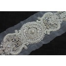 Beaded Diamante Belt Trim or Motif in Silver