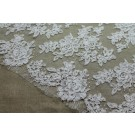 Corded Floral Lace - Ivory - Double Scallop Narrow