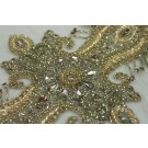 Beaded Diamante Belt Trim or Motif in Gold - Small