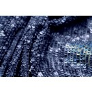 Overlapping Micro Sequin On Silk Chiffon - Navy