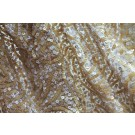 REMNANT: Paisley Pattern Sequin On Silk Chiffon - Golden/Ivory - 0.85m piece
