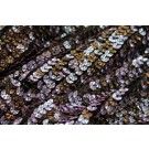 Corrugated Round Sequin on Silk Chiffon Bronze/Lilac