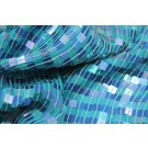 Square Sequin on Silk Chiffon Turquoise/Blue