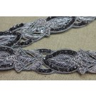 Silver Zari Work Trim with Charcoal crystals - Narrow