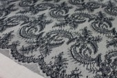 Fern Pattern Chantilly Lace - Black