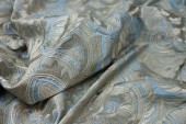 Heavy Swirl Embroidered Dupion - Pale Blue and Beige
