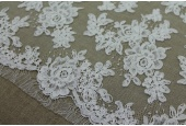 Corded Floral Lace - Ivory - Double Scallop