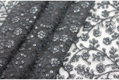 Sequinned and Embroidered Flowers on Tulle - Black