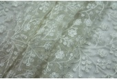 Sequinned and Embroidered Flowers on Tulle - Ivory