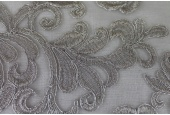 Corded Embroidered Tulle - Silver - Double Scallop