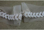 Pearl and Metal Work Leaf Trim - Gold and Ivory