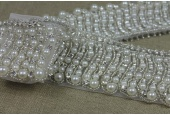Art Deco Beaded Diamante & Pearl Trim in Ivory and Silver