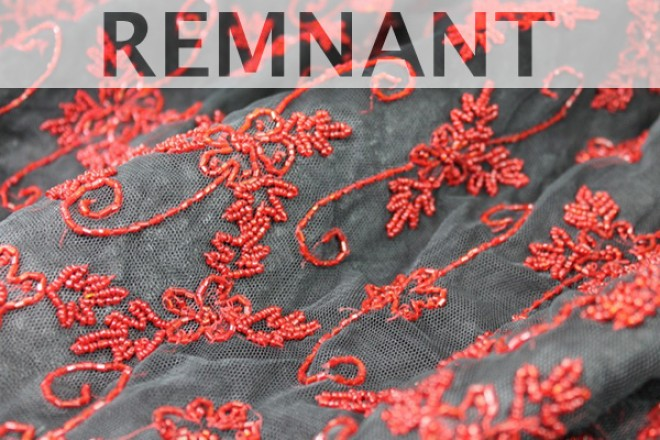 REMNANT: Black tulle with red bugle and round beading in a floral pattern