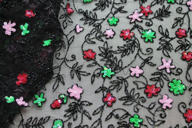 Black Tulle with Pink, Red and Green Sequin Flowers and Black Beads