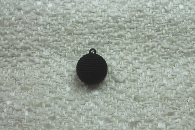Round Corded Ball Button - Black - Large