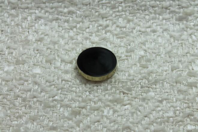 Gold Plastic Button with Black Resin Inlay