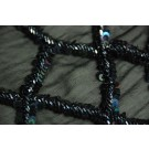 Black iridescent bugle bead and sequin diamond pattern on chiffon