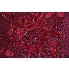 Red lace mesh with floral design, gold metallic thread, red iridescent bugle beading and clear round sequins