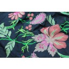 Navy Silk Dupion with Floral Embroidery in Pinks and Greens