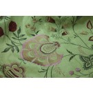 Lime Textured Raw Silk with Floral Embroidery