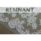 REMNANT: Corded Floral Lace - Ivory - Double Scallop - 0.5m piece