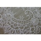 Beaded Chantilly Lace - Ivory Single Scallop