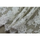 Corded Floral Lace - Ivory w/Glitter - Double Scallop