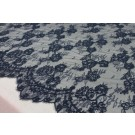 Corded Chantilly Lace - Black Double Scallop