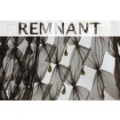 REMNANT: Brown cut out tulle with teardrop crystal and bugle beads - 4.1m piece