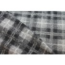 Boiled Wool Jersey Knit - Grey Black Tartan