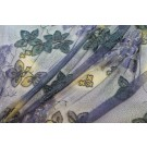 Purple, yellow and teal coloured floral lace with blue round beads and clear coned sequins