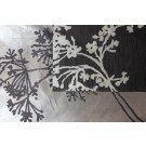 Art Print on Cotton Drill - Black and Silver Flower