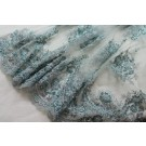 Beaded Sequinned Double Scalloped Lace - Duck Egg Blue