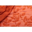 Embroidered Applique Leaf on Orange Silk Georgette
