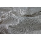 Embroidered Organic Chevron Pattern on Tulle - Silver Foil