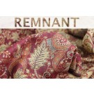 REMNANT: Red Green and Gold Leaf Pattern Wool Challis - 0.9m piece