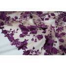 Gradient Floral Embroidered Tulle - Amethyst on Nude - Double Scallop