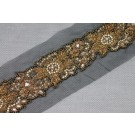 Gold Floral Beaded Diamante and Zari Work Trim