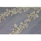 Embroidered Flowers and Micro Seed Beads Trim - Cream/Ecru