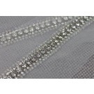 Clear Seed Beads and Diamante Trim in Silver