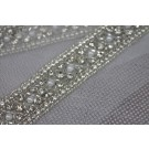 "Wide ""Criss Cross"" Seed Bead and Diamante Trim in Silver"
