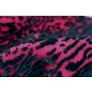 Boiled Wool Jersey Knit - Berry with Black Flocked Fur Spots